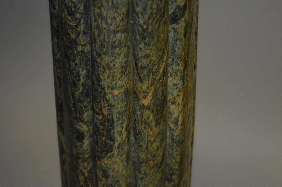 Pair green reeded Marble pedestals with bronze capitals - 6
