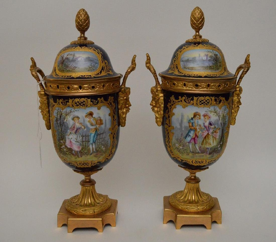 "Pair Sevres urns, 13""H"