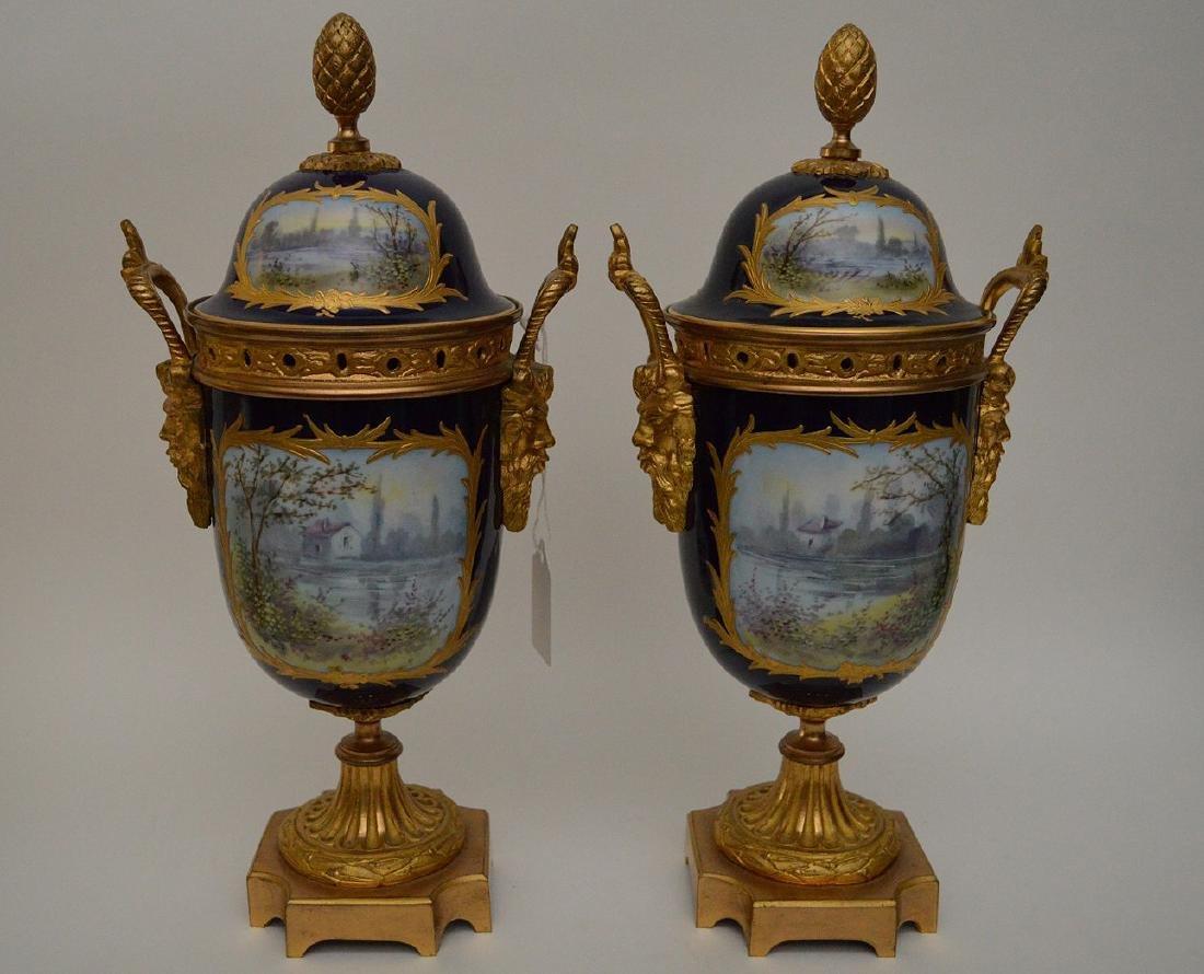 "Pair Sevres urns, 13""H - 5"