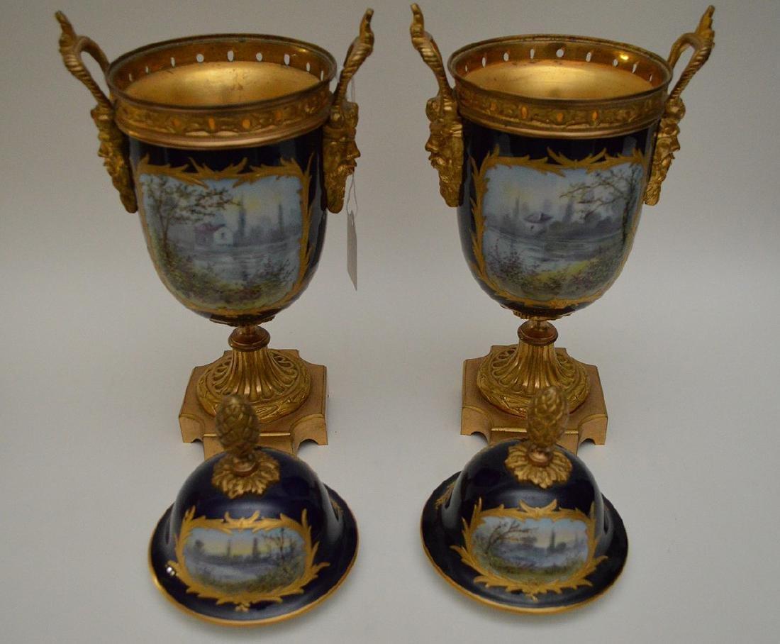 "Pair Sevres urns, 13""H - 7"