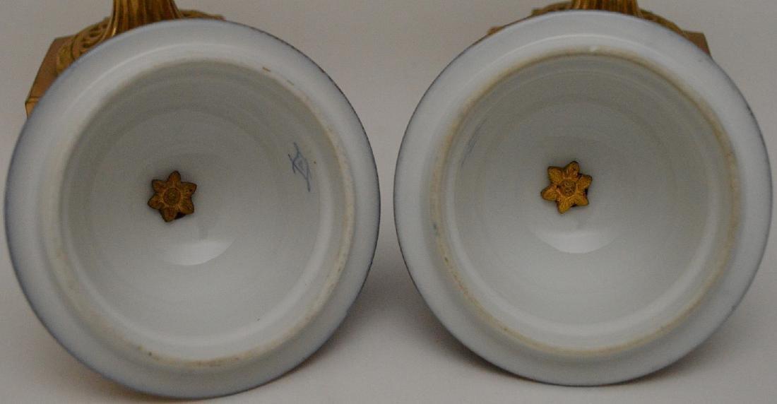 "Pair Sevres urns, 13""H - 8"