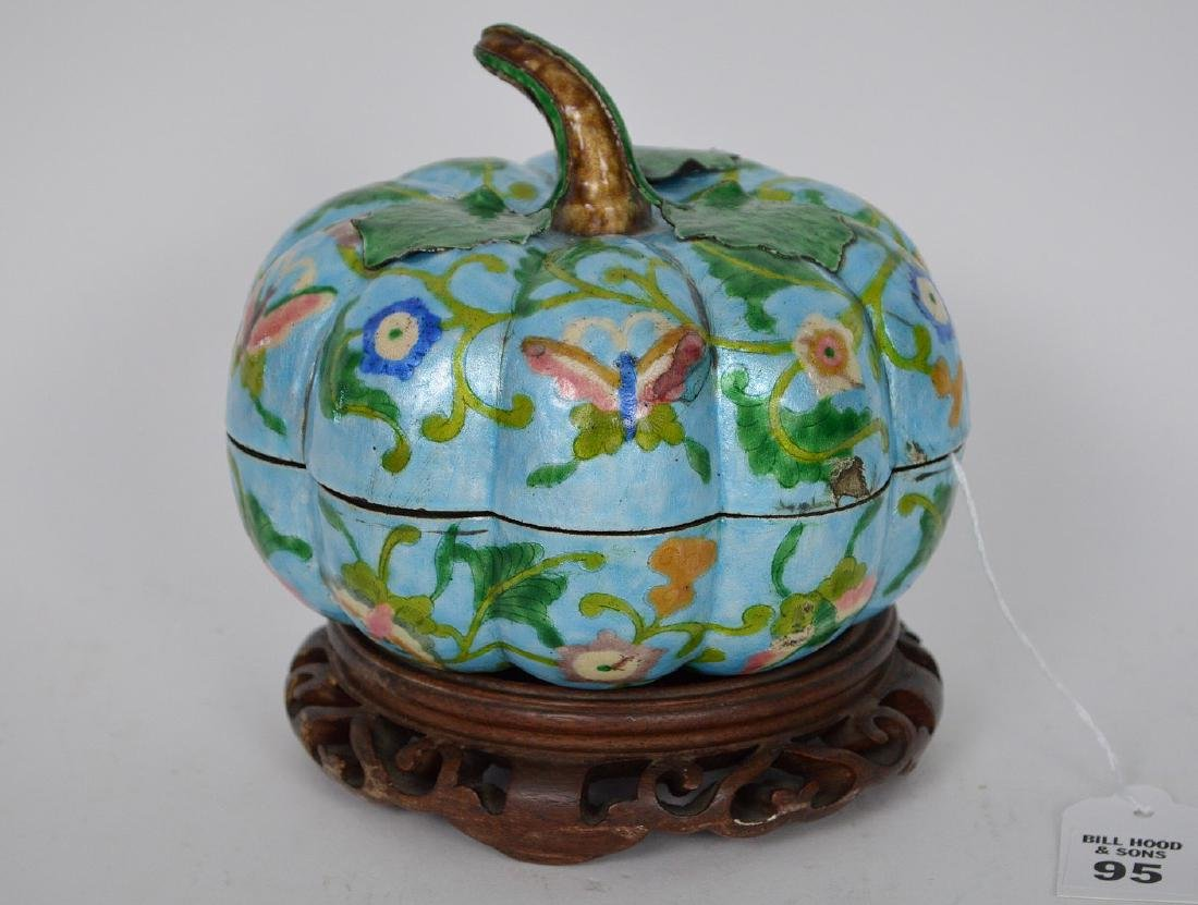 Chinese Enamel Gourd Form Covered Box with carved wood