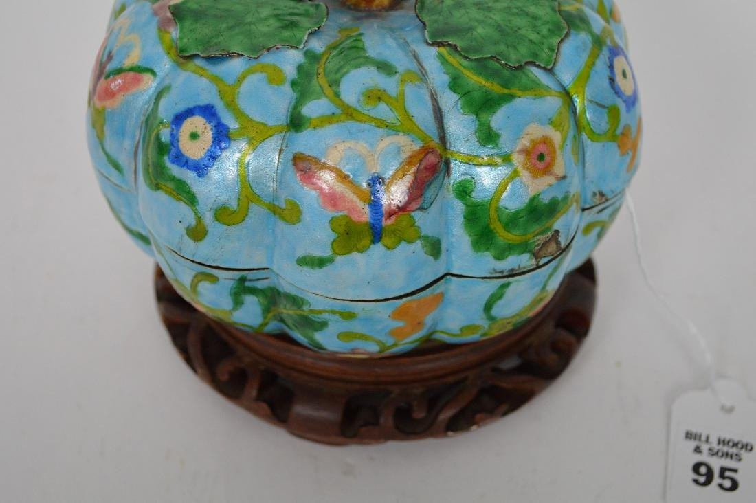 Chinese Enamel Gourd Form Covered Box with carved wood - 3