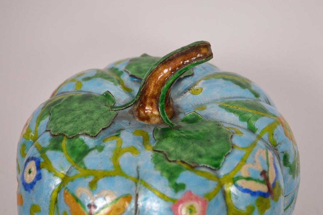 Chinese Enamel Gourd Form Covered Box with carved wood - 5