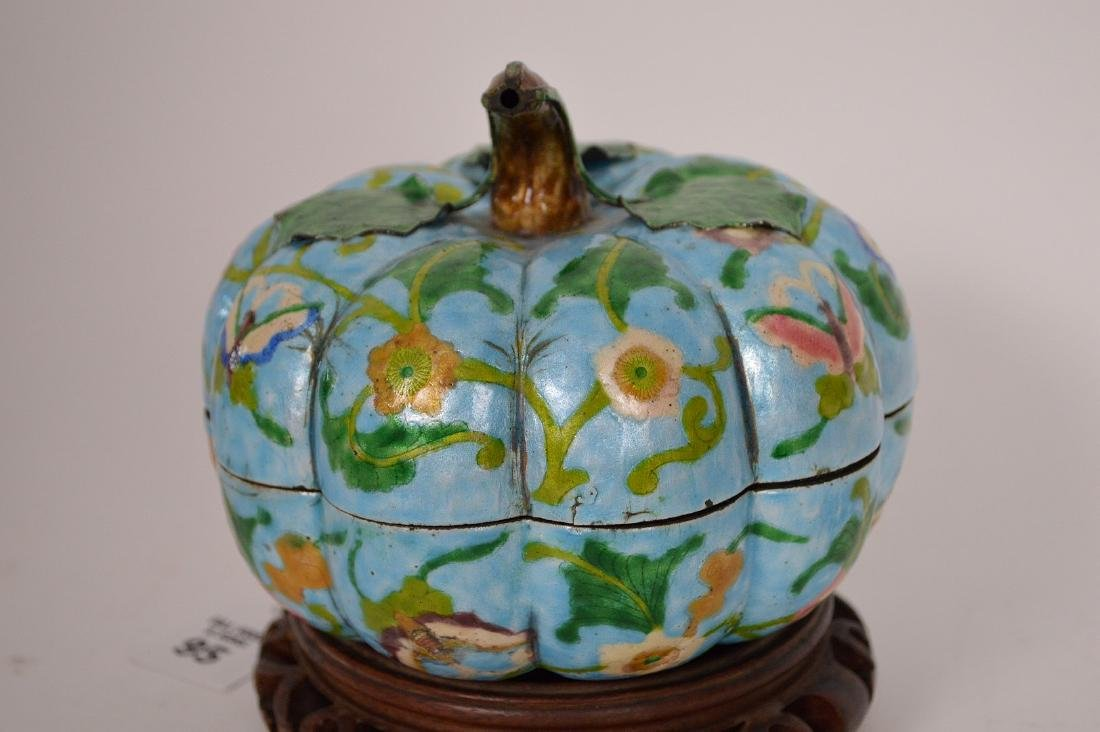 Chinese Enamel Gourd Form Covered Box with carved wood - 6