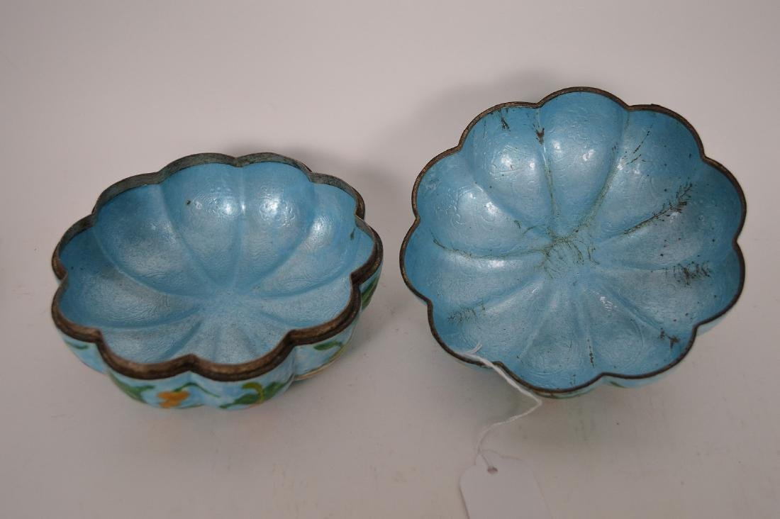 Chinese Enamel Gourd Form Covered Box with carved wood - 7