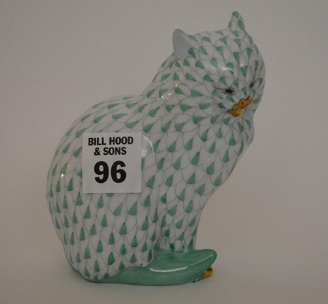 "3 Herend Porcelain Figures, Herend green cat, 4 1/2""h, - 7"