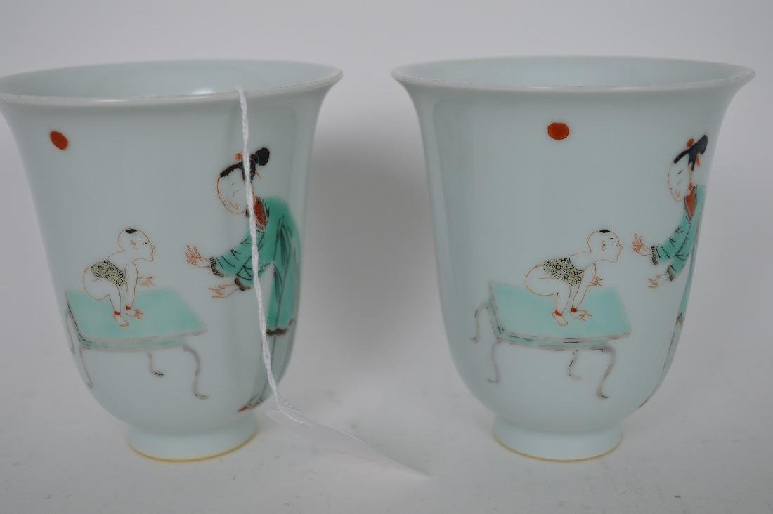 Pair Chinese Republic Period Procelain Cups. Condition - 3