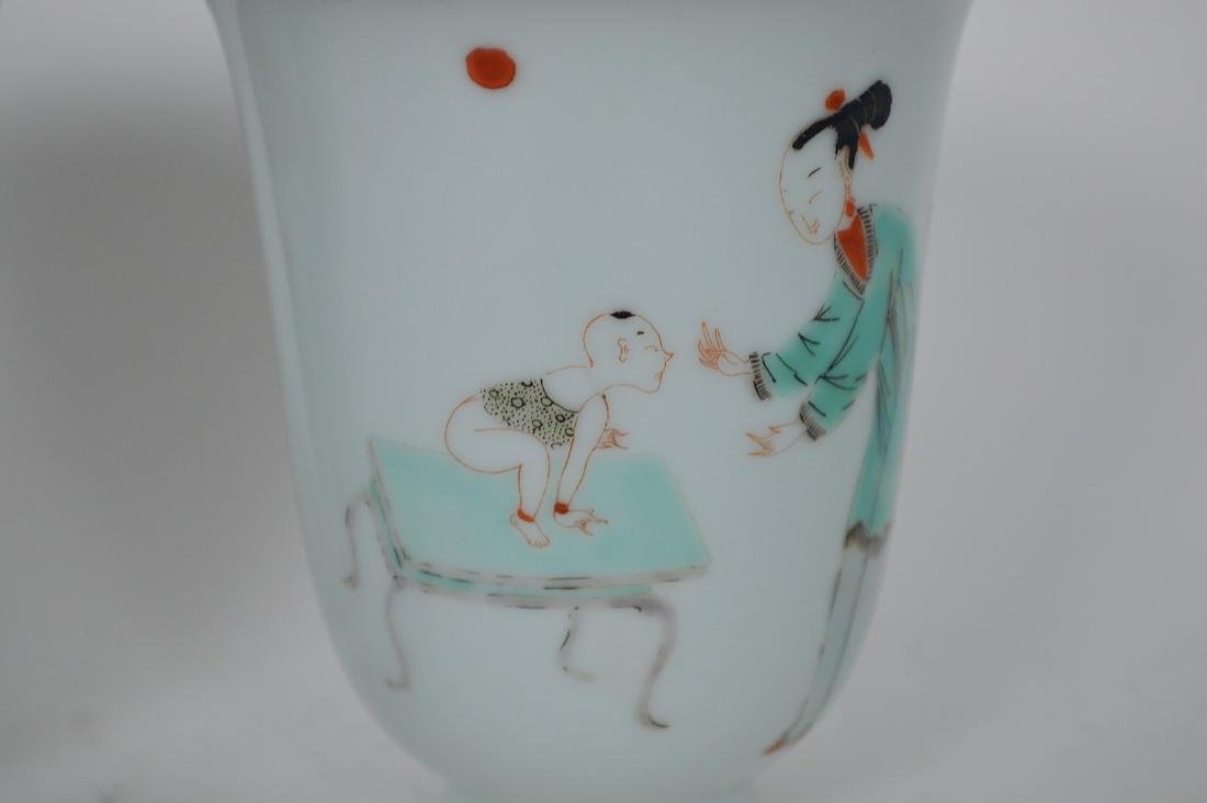 Pair Chinese Republic Period Procelain Cups. Condition - 4