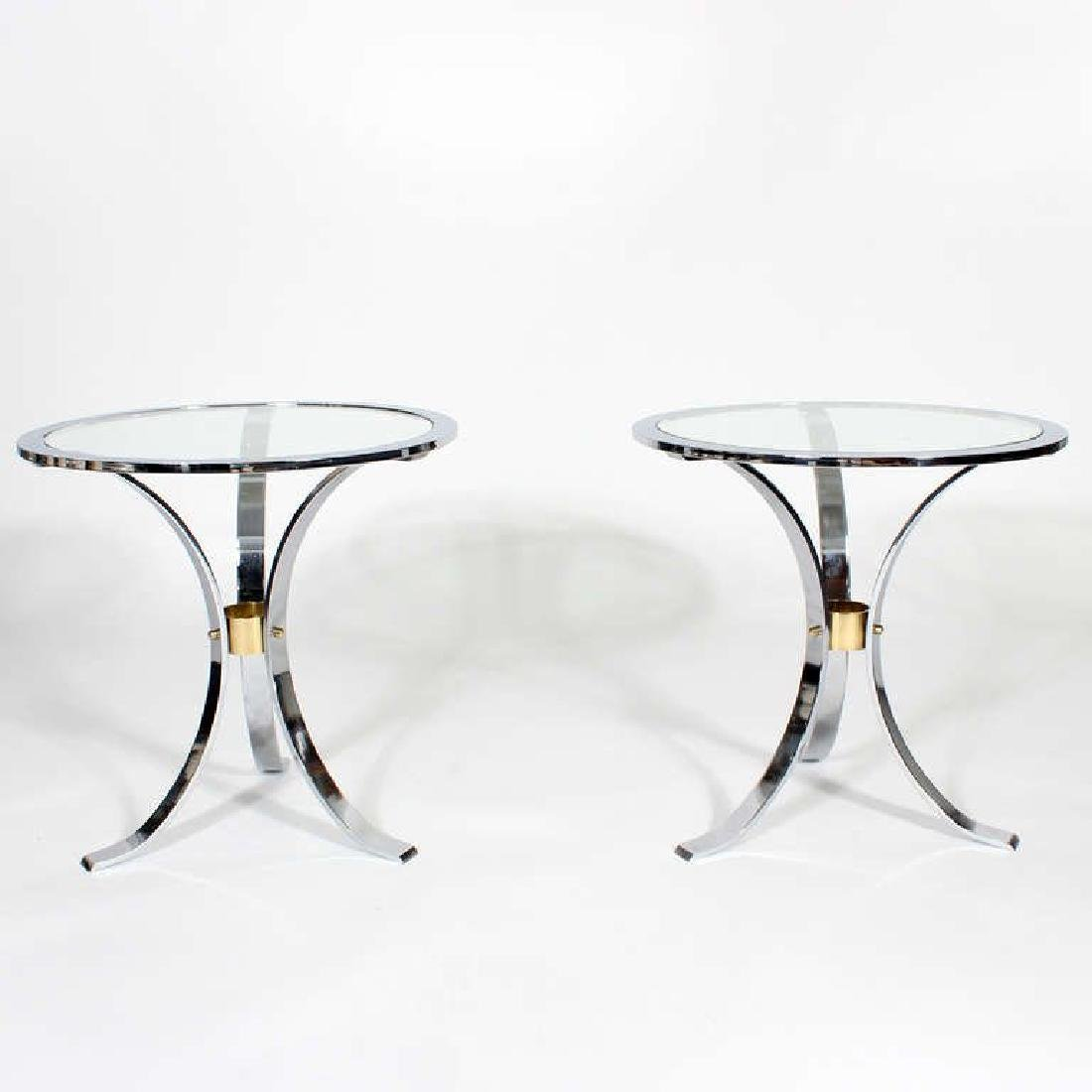 Pair of Mid Century Round Glass Inset Tables, in the