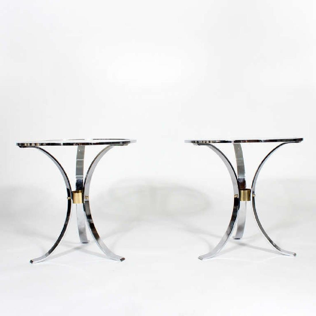 Pair of Mid Century Round Glass Inset Tables, in the - 3