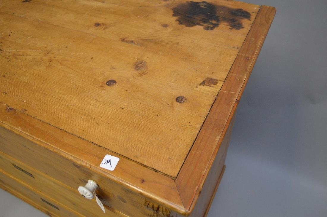19th c. pine 3 drawer dresser with porcelain knobs, - 3