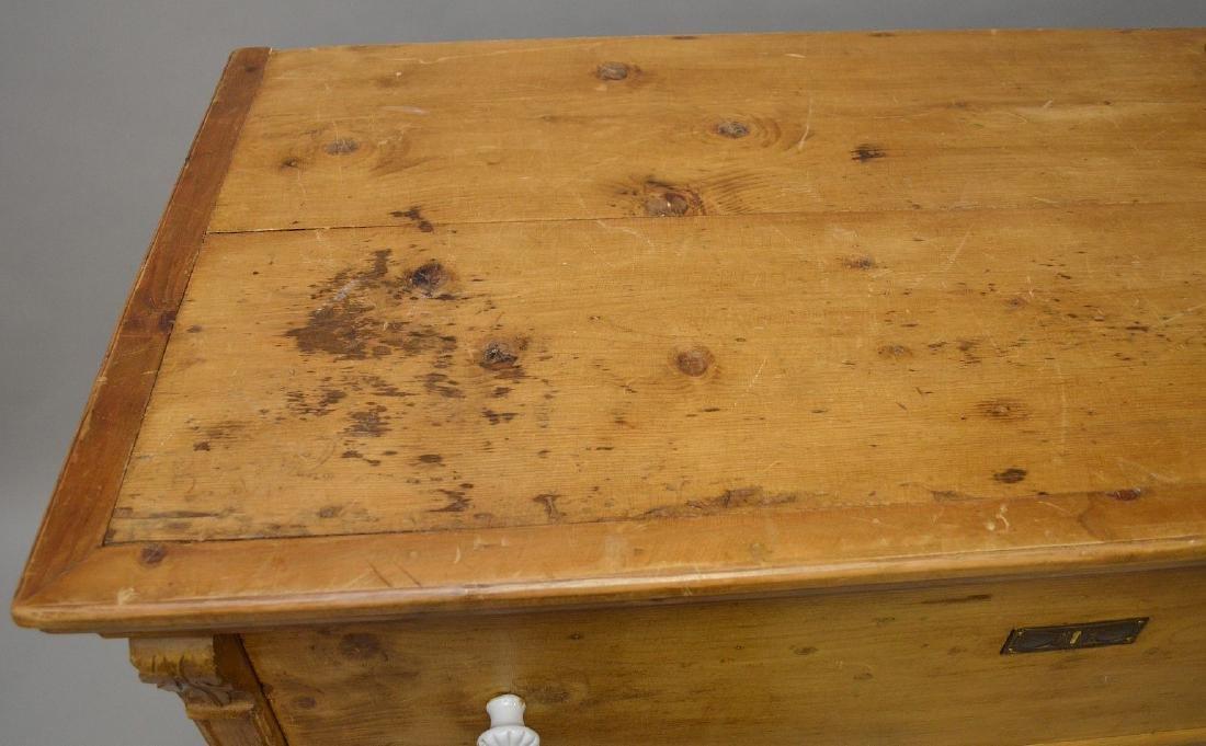 19th c. pine 3 drawer dresser with porcelain knobs, - 4