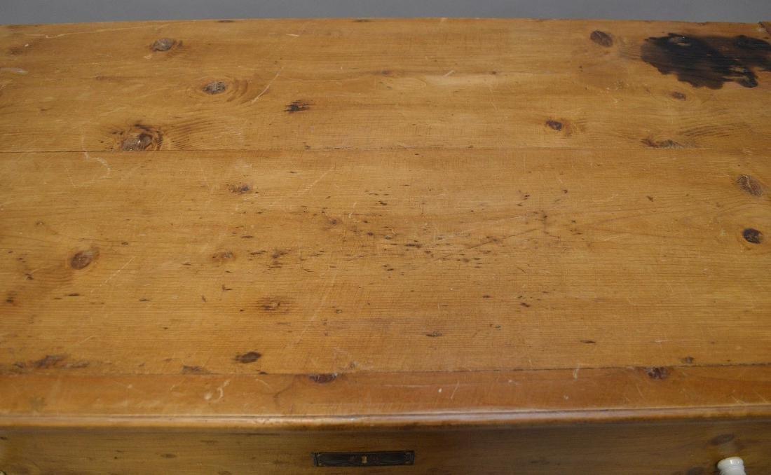 19th c. pine 3 drawer dresser with porcelain knobs, - 5