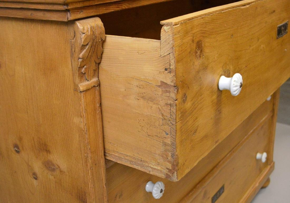 19th c. pine 3 drawer dresser with porcelain knobs, - 6