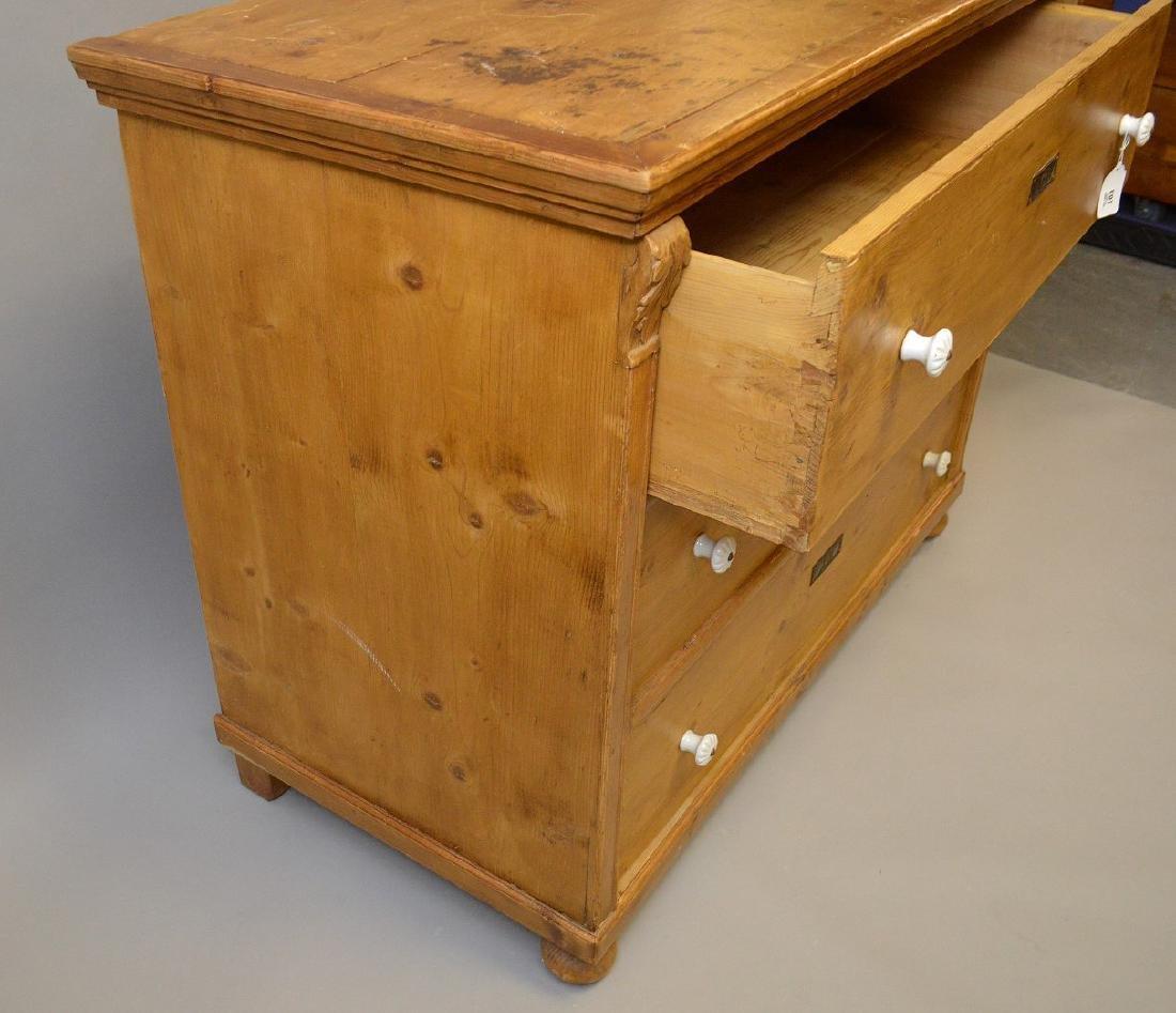 19th c. pine 3 drawer dresser with porcelain knobs, - 7