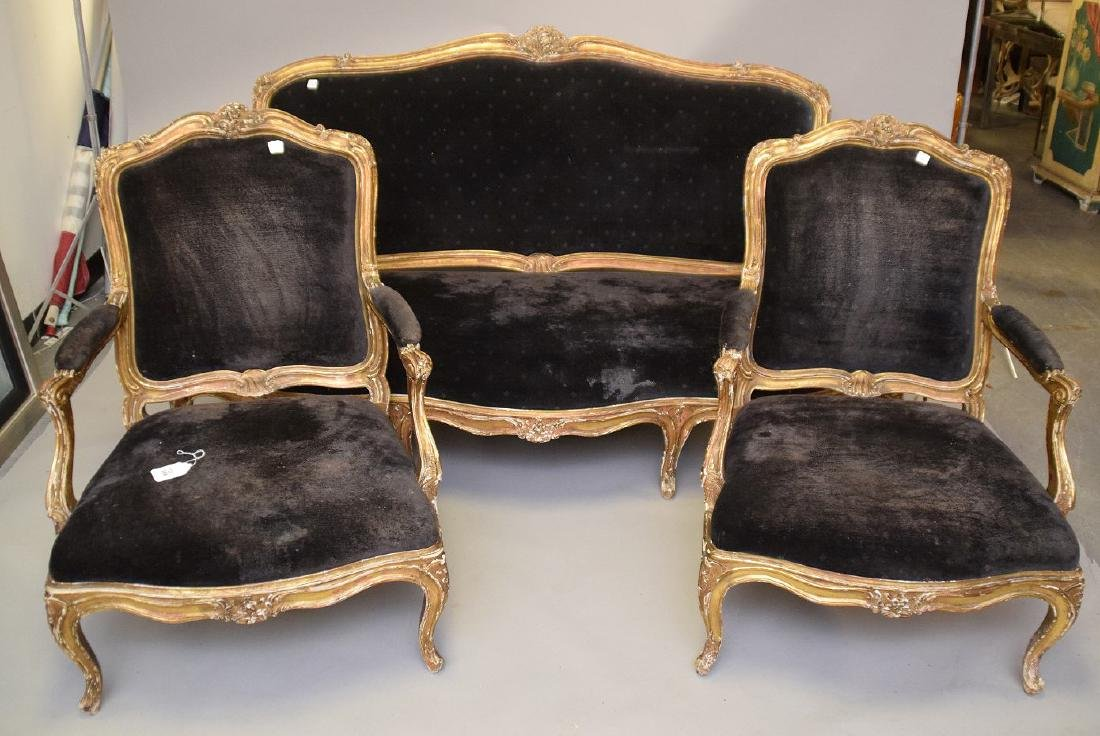 Three piece 18th c. French Parlor Suite, worn gilded