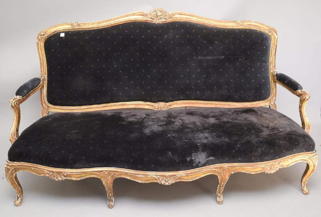 Three piece 18th c. French Parlor Suite, worn gilded - 2