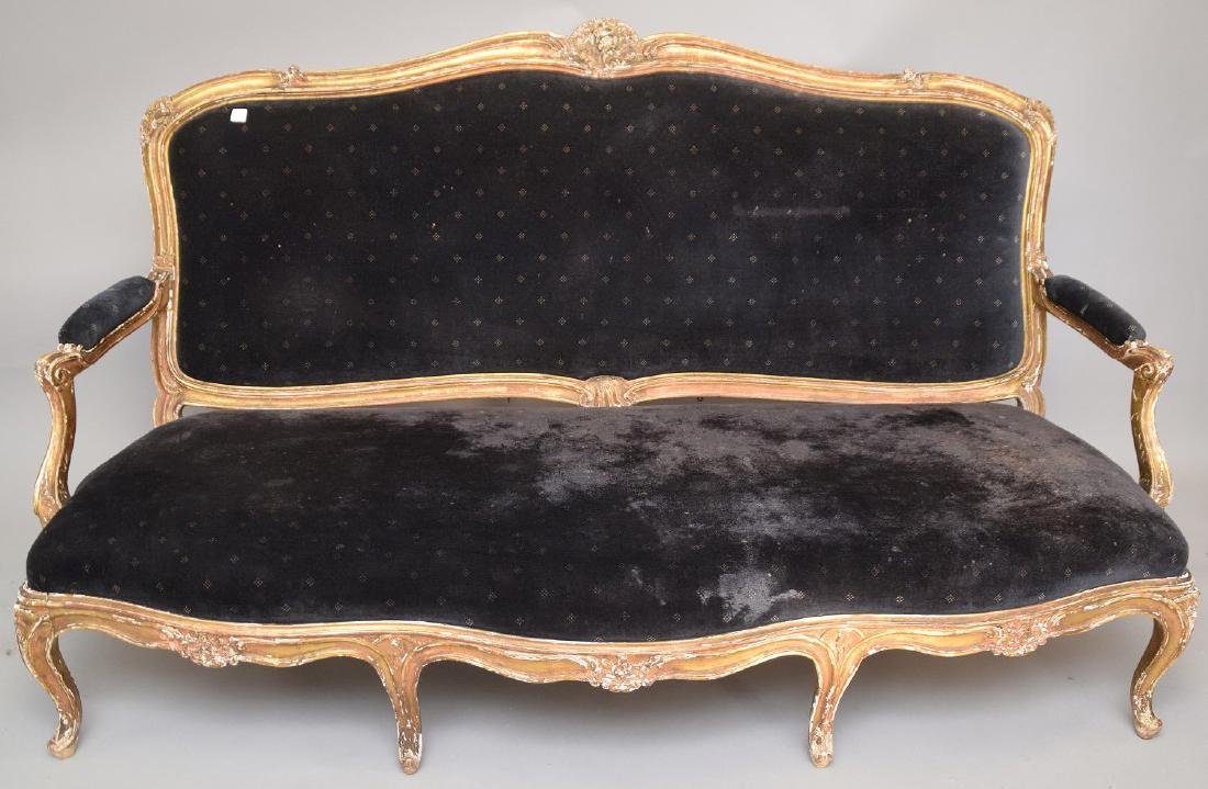 Three piece 18th c. French Parlor Suite, worn gilded - 3