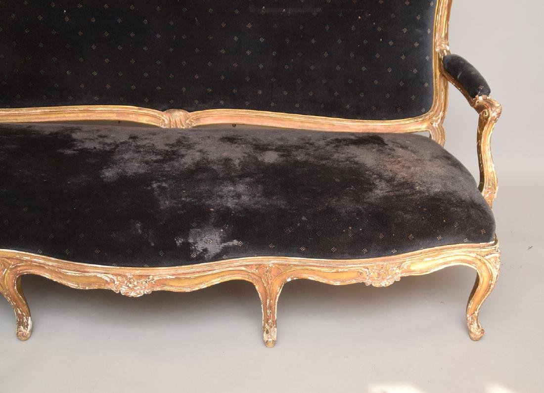 Three piece 18th c. French Parlor Suite, worn gilded - 5