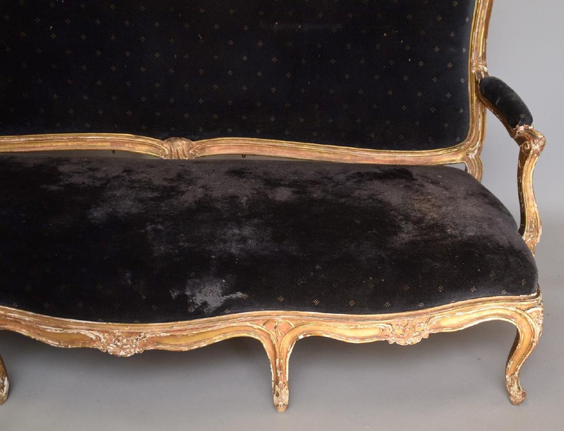 Three piece 18th c. French Parlor Suite, worn gilded - 6