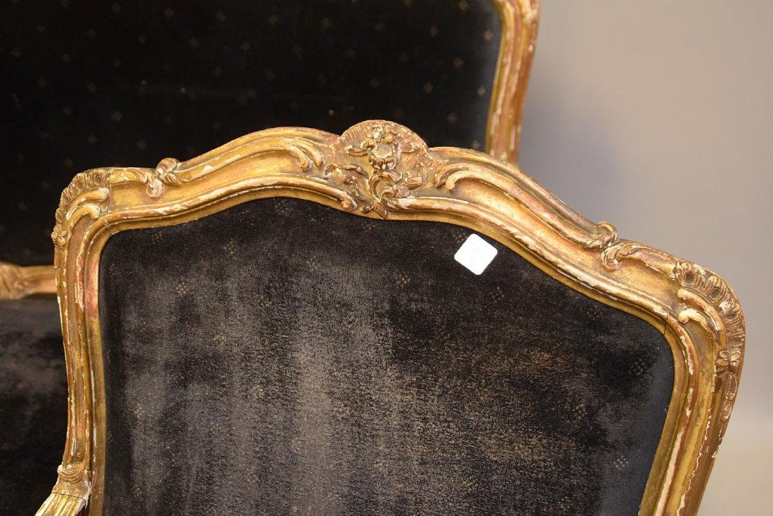 Three piece 18th c. French Parlor Suite, worn gilded - 8