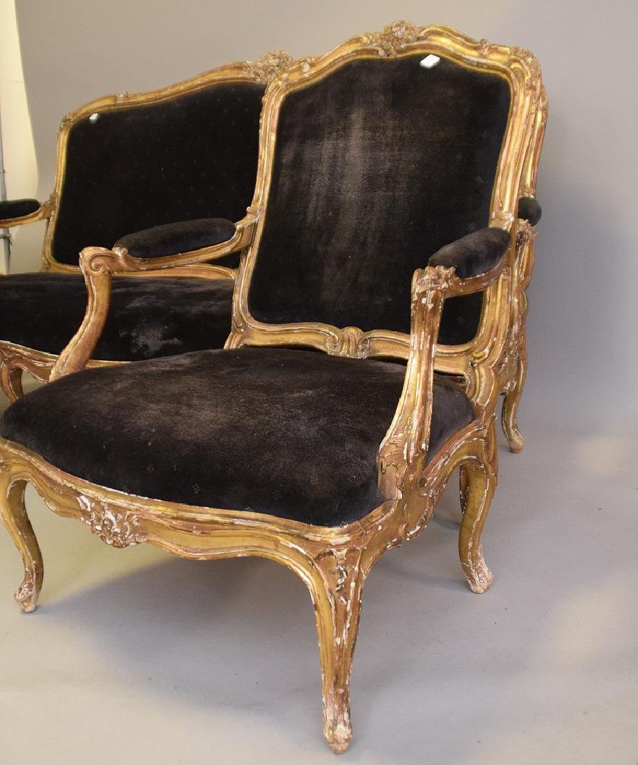 Three piece 18th c. French Parlor Suite, worn gilded - 9