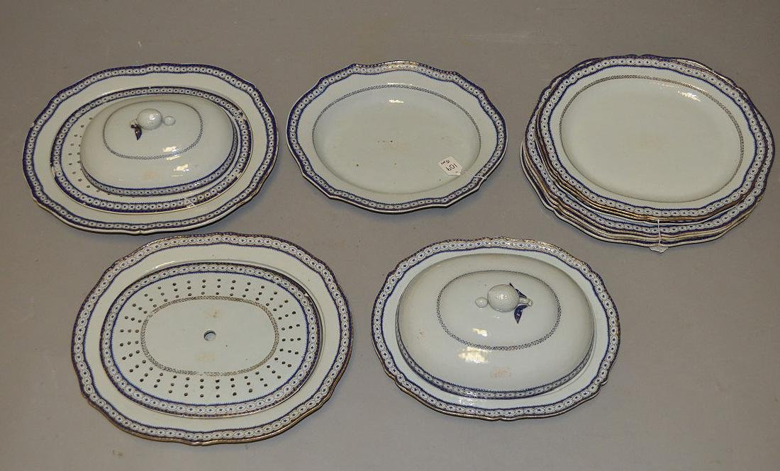 15 Piece Chinese Export Porcelain Armorial Dinner