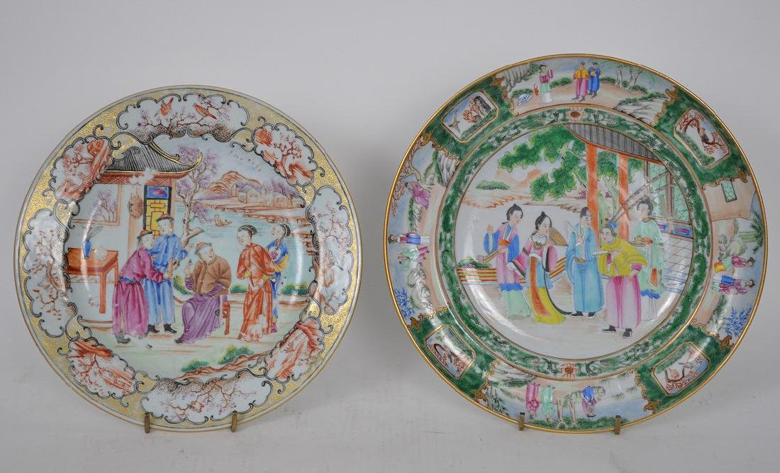 2 Chinese export porcelain plates, one plate Famille