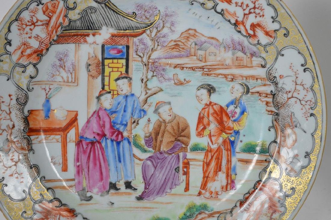 2 Chinese export porcelain plates, one plate Famille - 3