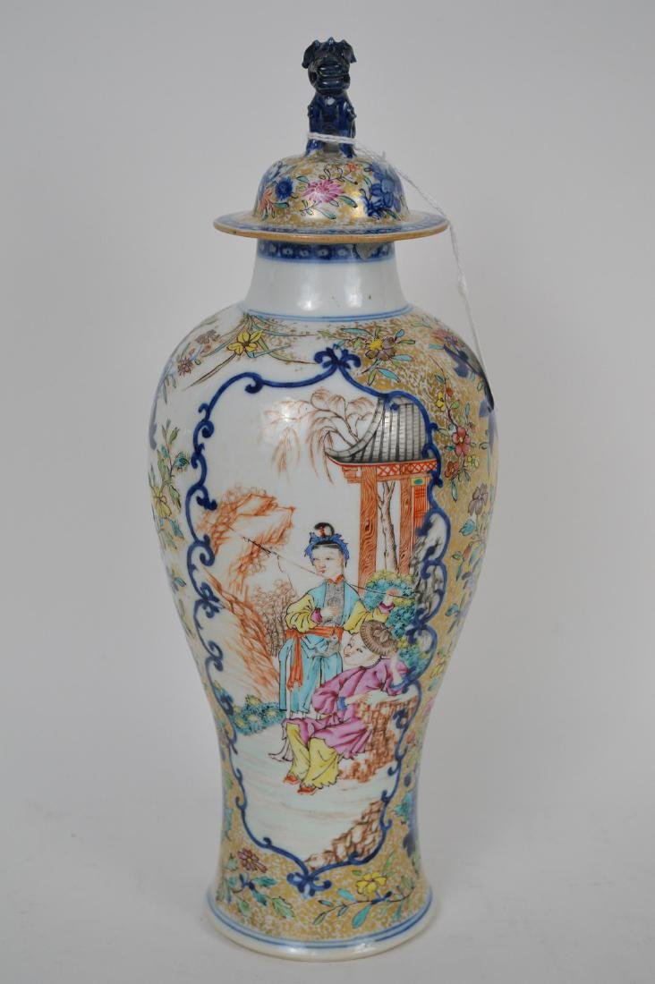 "Chinese export porcelain Famille Rose urn, 12 3/4""h"