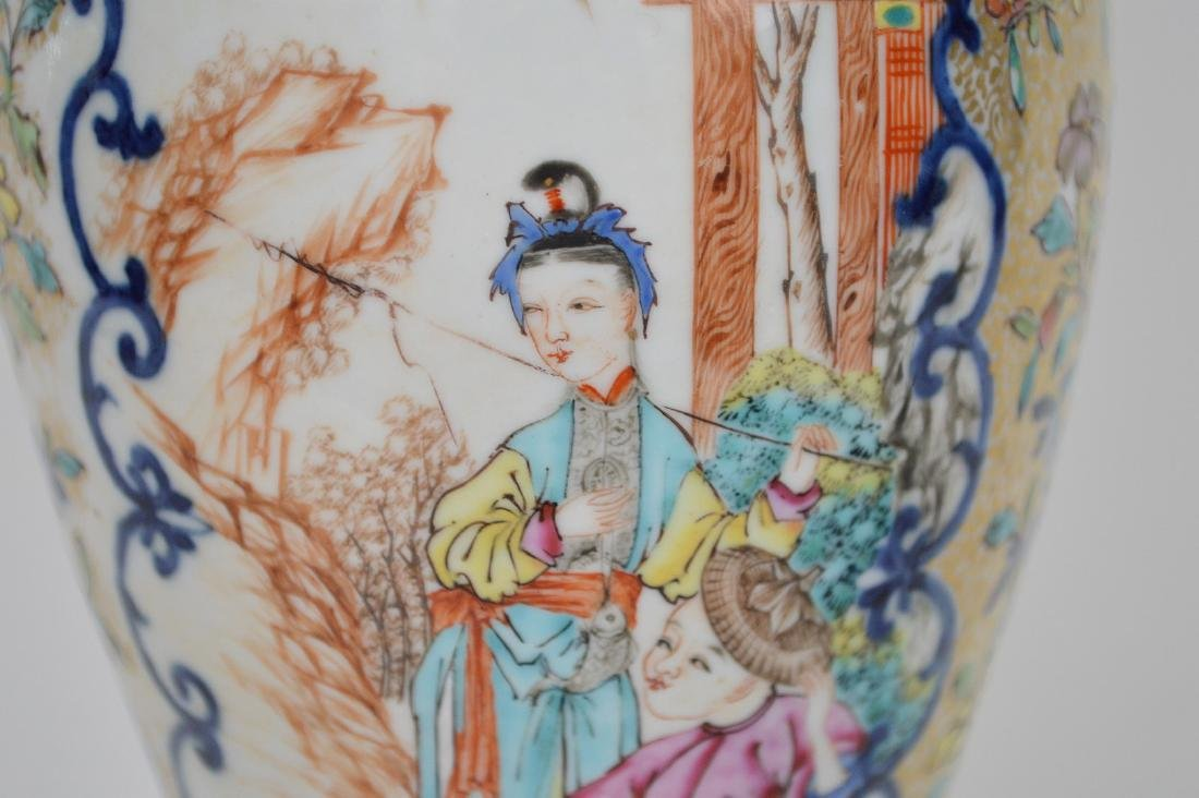 "Chinese export porcelain Famille Rose urn, 12 3/4""h - 4"