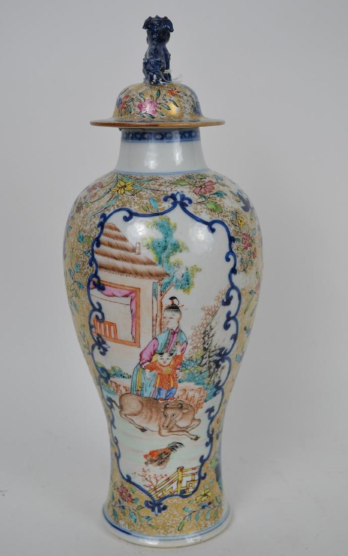 "Chinese export porcelain Famille Rose urn, 12 3/4""h - 7"
