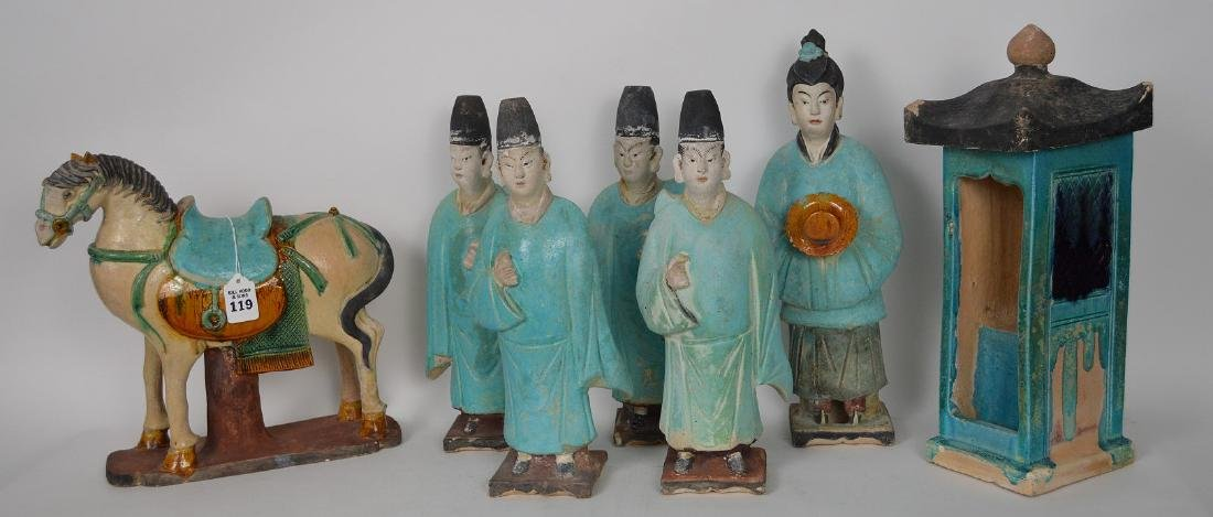 7 Piece Early Chinese Pottery Procession.