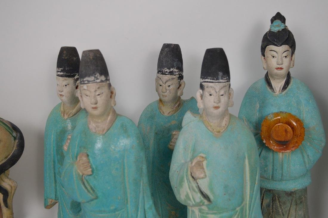 7 Piece Early Chinese Pottery Procession. - 2
