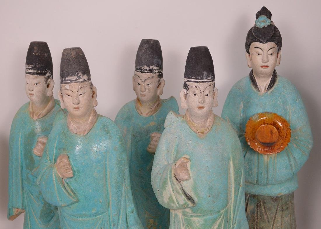 7 Piece Early Chinese Pottery Procession. - 6