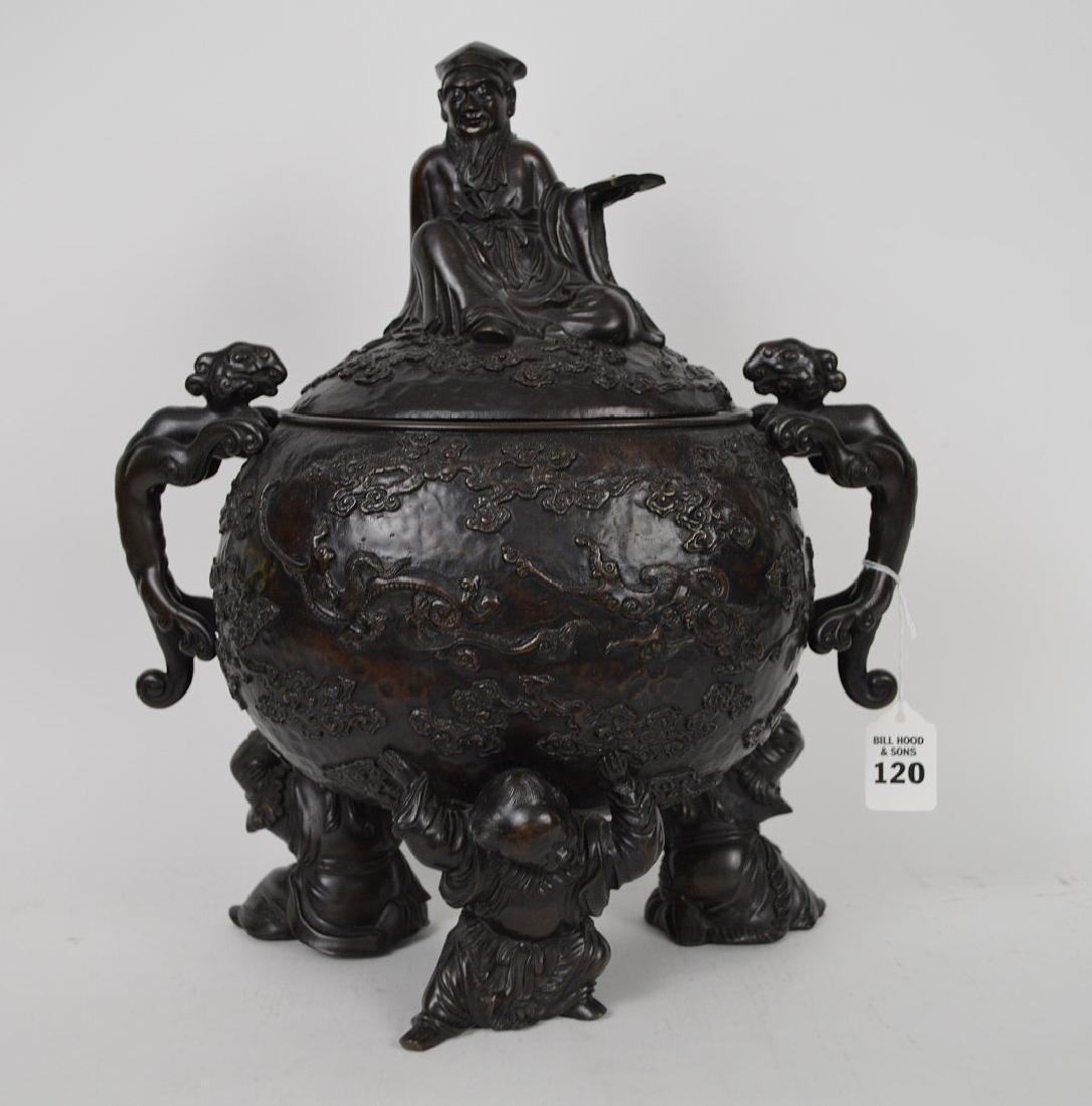 "Chinese bronze figural urn, 15 1/2""h x 12""w x 7""d (good"
