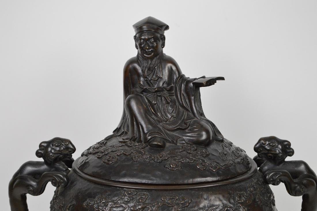 "Chinese bronze figural urn, 15 1/2""h x 12""w x 7""d (good - 2"