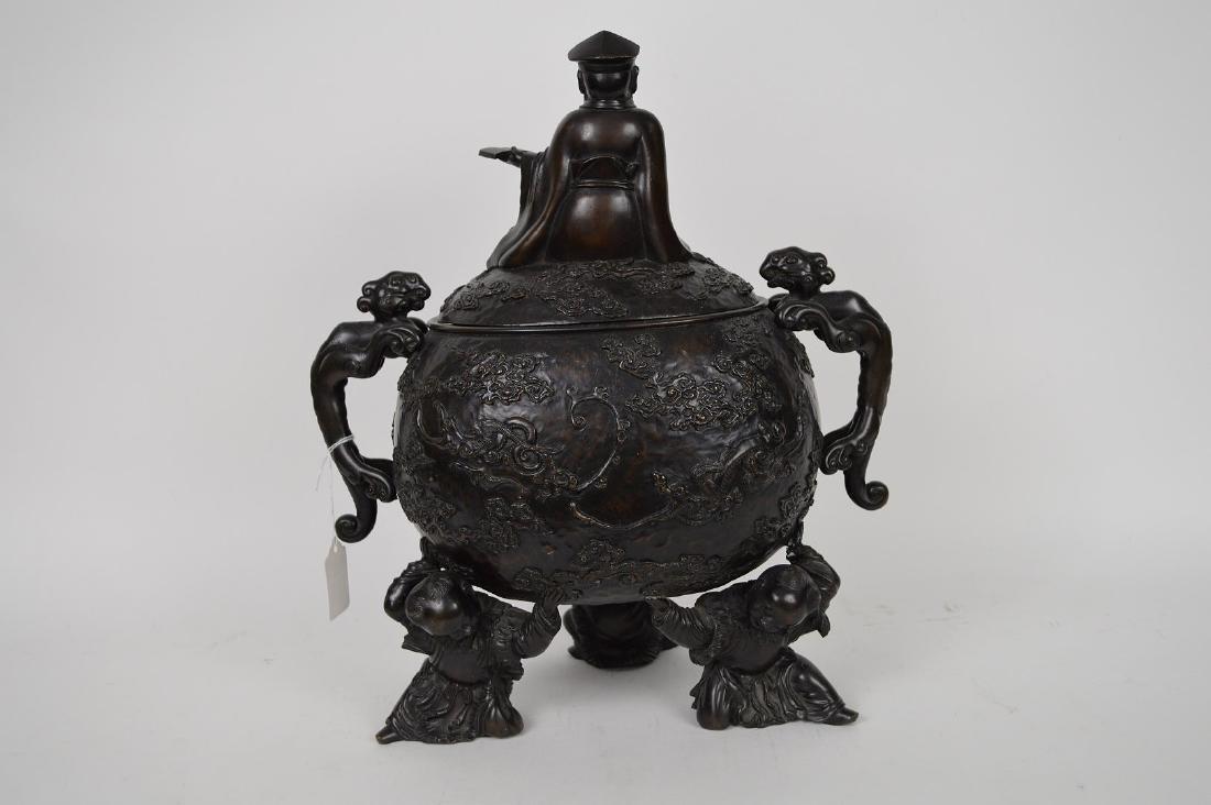 "Chinese bronze figural urn, 15 1/2""h x 12""w x 7""d (good - 6"