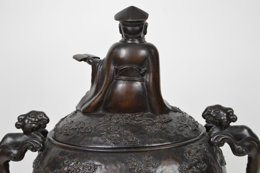 "Chinese bronze figural urn, 15 1/2""h x 12""w x 7""d (good - 7"