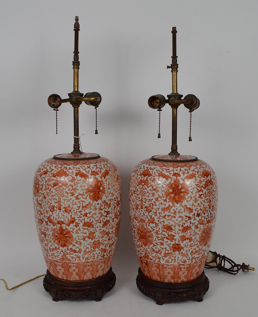Pair Chinese Porcelain Urns now electrified and mounted