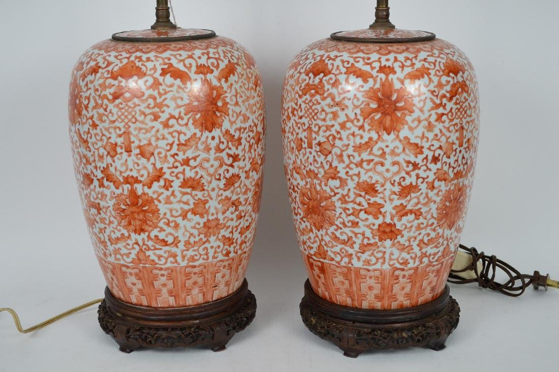 Pair Chinese Porcelain Urns now electrified and mounted - 2