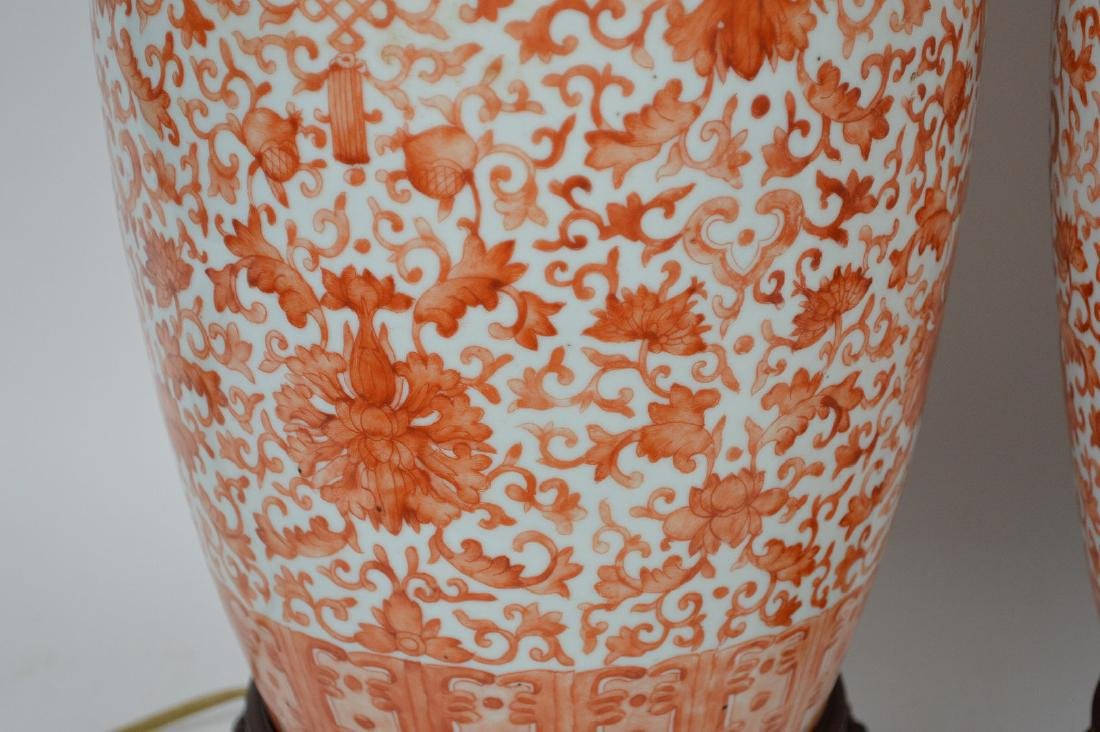 Pair Chinese Porcelain Urns now electrified and mounted - 3