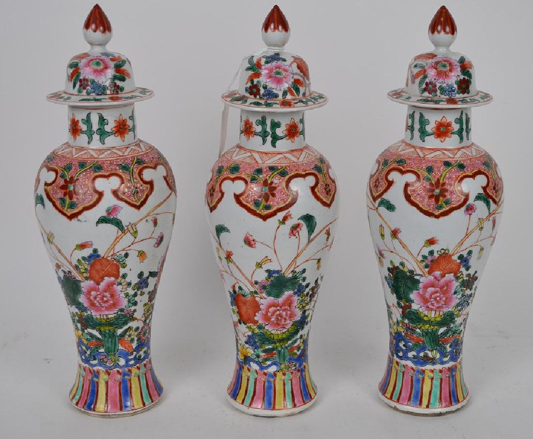 3 Chinese Export Porcelain Urns.  Condition: one lid