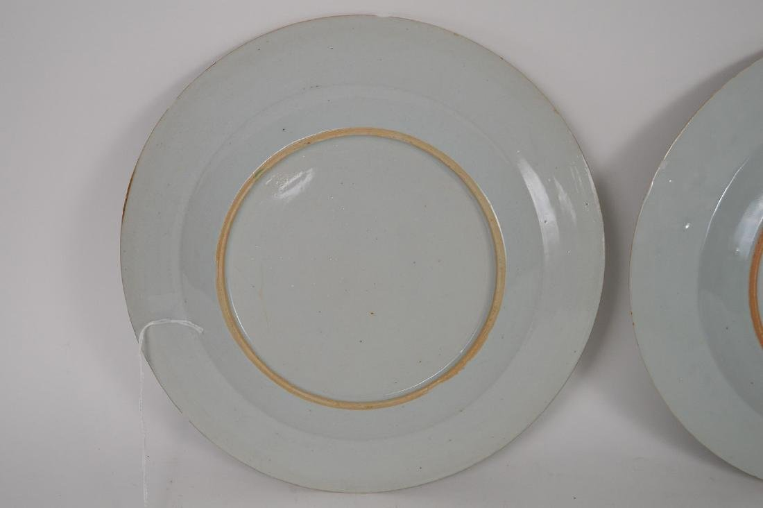 4 Chinese Export Porcelain Plates.  Each with hand - 10