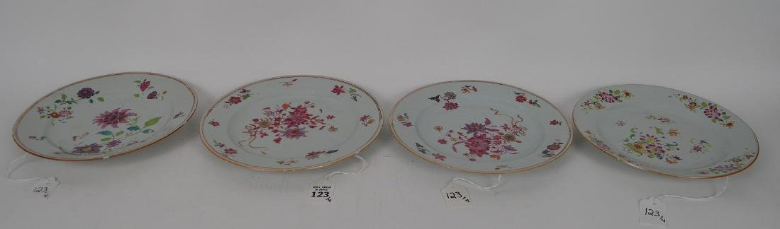 4 Chinese Export Porcelain Plates.  Each with hand