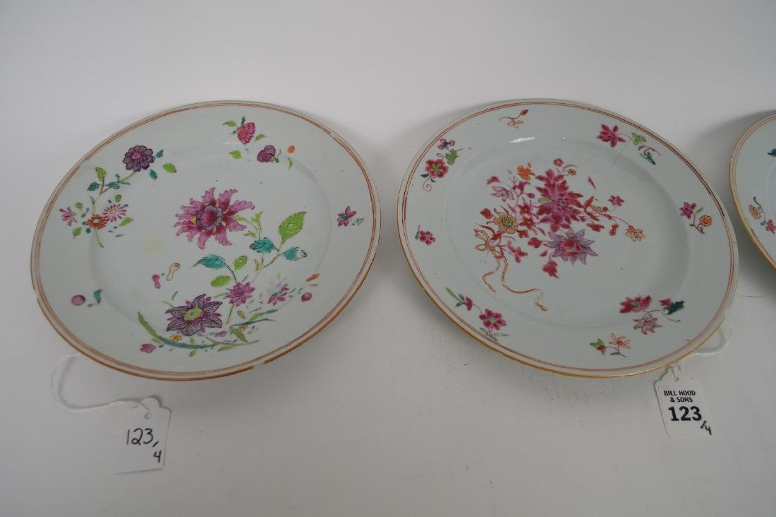 4 Chinese Export Porcelain Plates.  Each with hand - 2
