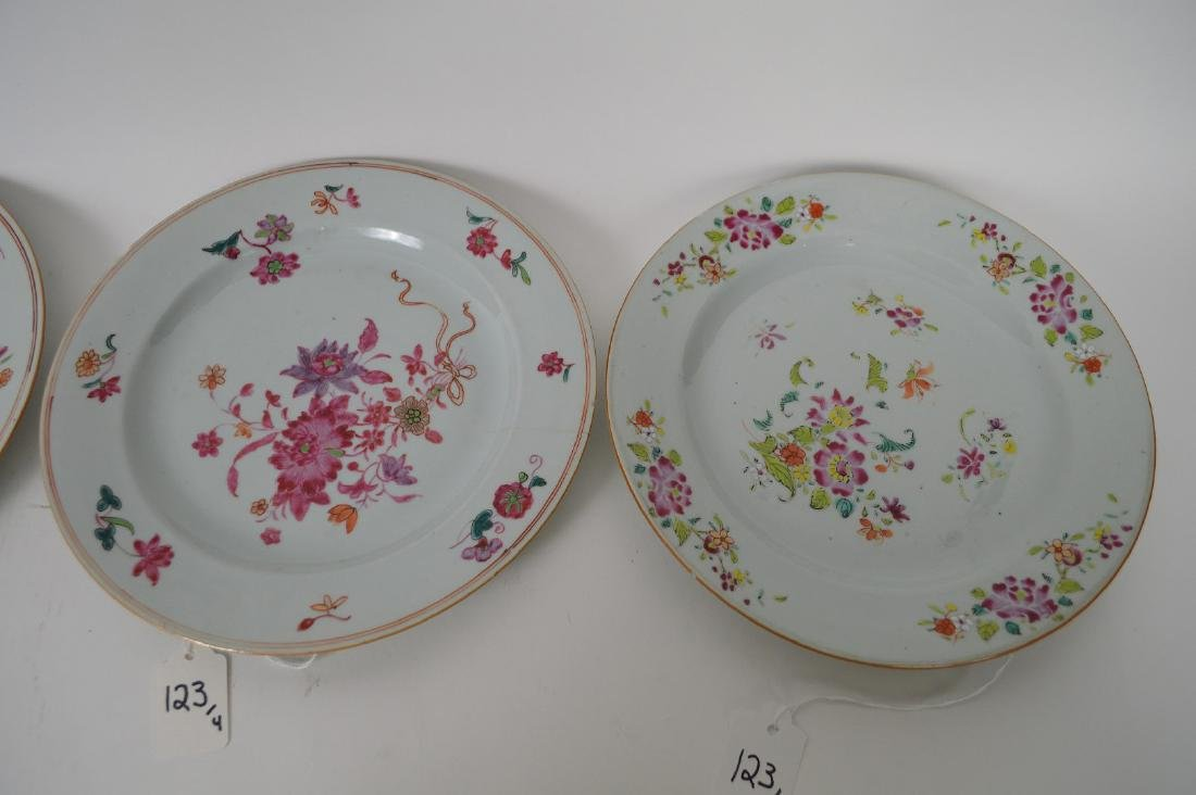 4 Chinese Export Porcelain Plates.  Each with hand - 3
