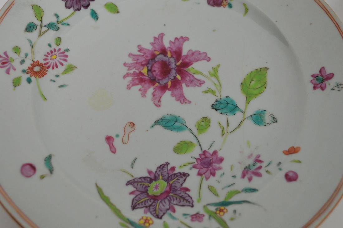 4 Chinese Export Porcelain Plates.  Each with hand - 5