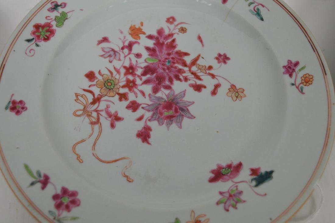 4 Chinese Export Porcelain Plates.  Each with hand - 6